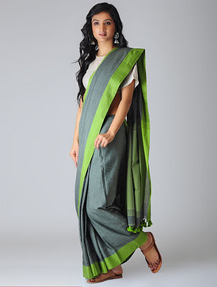Grey-Green Khadi Cotton Saree with Tassels