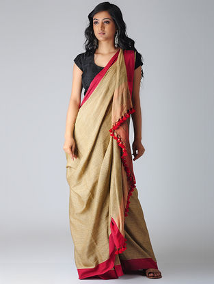 Beige-Red Khadi Cotton Saree with Tassels