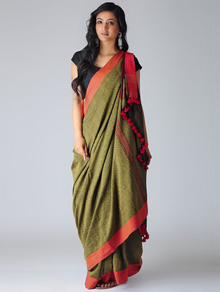 Green-Red Khadi Cotton Saree with Tassels