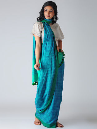 Blue-Green Khadi Cotton Saree with Tassels