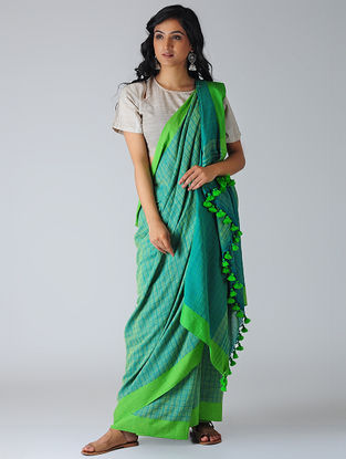 Turquoise-Green Khadi Cotton Saree with Tassels
