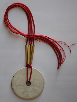 Red Handcrafted Concrete And Thread Necklace