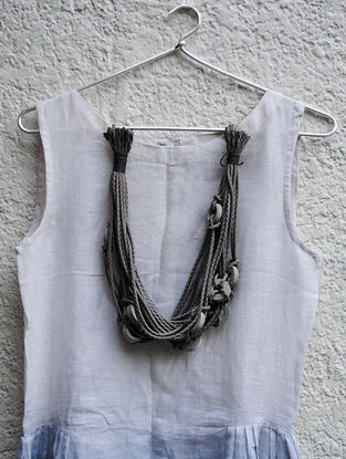 Grey Handcrafted Concrete And Thread Necklace