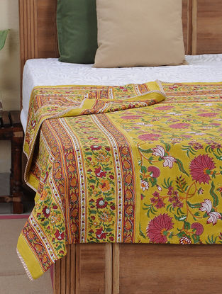 Red-Mustard Block-printed Cotton Reversible Dohar (L:108in, W:86in)