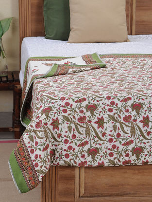 Red-Green Block-printed Cotton Reversible Dohar (L:107in, W:85in)