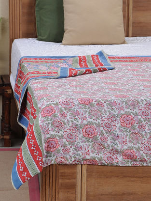 Blue-Pink Block-printed Cotton Reversible Dohar (L:108in, W:88in)