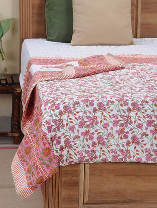 Pink-White Block-printed Cotton Reversible Dohar (L:110in, W:86in)
