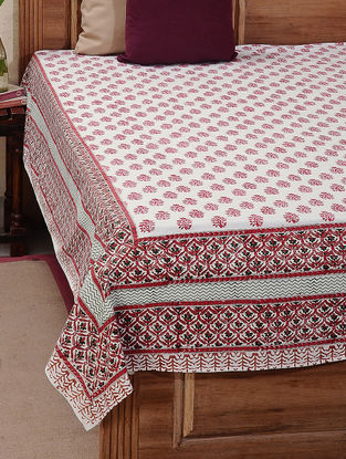 White-Red Block-printed Cotton Double Bed Cover (L:107in, W:88in)