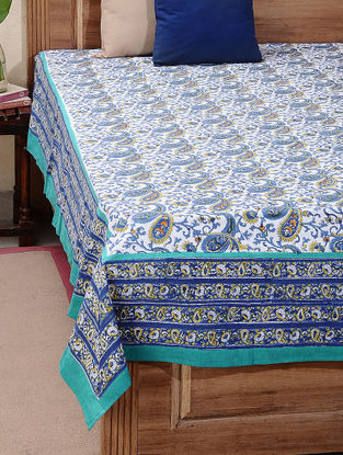 Green-Blue Block-printed Cotton Double Bed Cover (L:106in, W:87in)