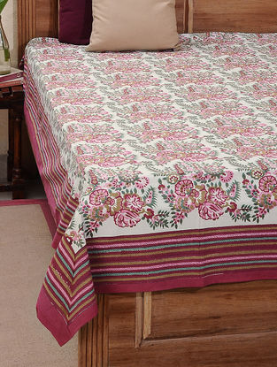 Red-Green Block-printed Cotton Double Bed Cover (L:107in, W:87in)