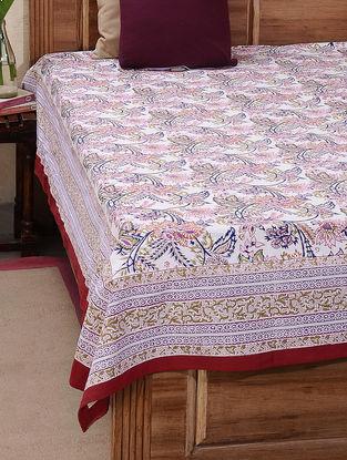 Molticolored Block-printed Cotton Double Bed Cover (L:106in, W:87in)