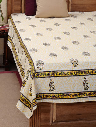 Yellow-Green Block-printed Cotton Double Bed Cover (L:106in, W:86in)