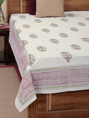White-Green Block-printed Cotton Double Bed Cover (L:110in, W:88in)