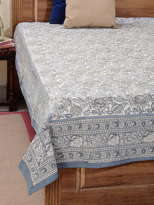 Beige-Grey Block-printed Cotton Double Bed Cover (L:106in, W:87in)