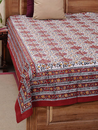 Maroon-Green Block-printed Cotton Double Bed Cover (L:106in, W:88in)