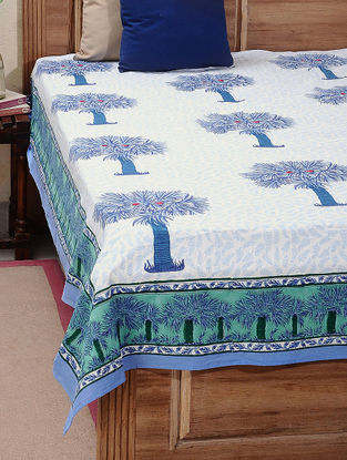 Blue-Green Block-printed Cotton Double Bed Cover (L:106in, W:88in)