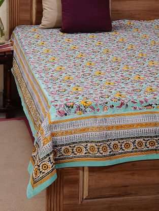 Green-Pink Block-printed Cotton Double Bed Cover (L:105in, W:87in)