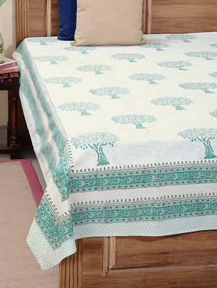 Green-White Block-printed Cotton Double Bed Cover (L:108in, W:86in)