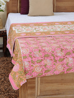 Pink-Green Block-printed Cotton Reversible Double Dohar (107in x 87in)