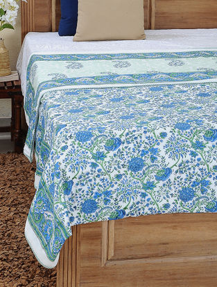 Green-Blue Block-printed Cotton Reversible Double Dohar (108in x 86in)