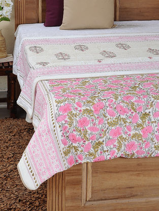 Pink-Green Block-printed Cotton Reversible Double Dohar (110in x 86in)