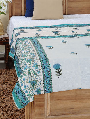White-Blue Block-printed Cotton Reversible Double Dohar (110in x 88in)