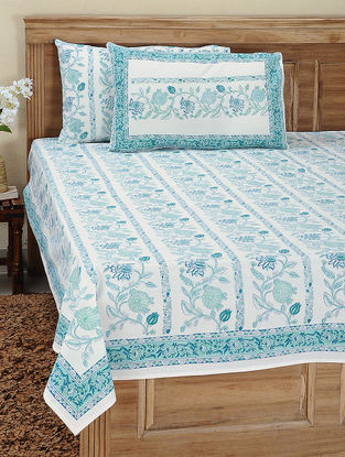 White-Blue Block-printed Cotton Bedsheet with Pillow Cover (Set of 3)