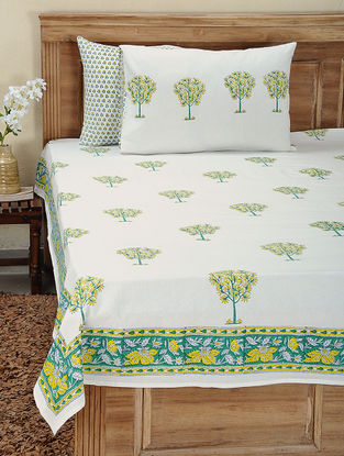Yellow-Green Block-printed Cotton Bedsheet with Pillow Cover (Set of 3)