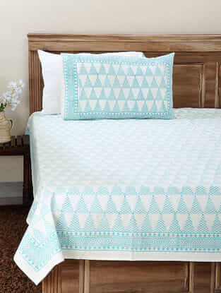 White-Blue Block-printed Cotton Double Bedsheet with Pillow Cover (Set of 3)