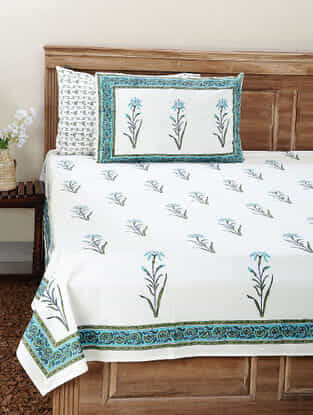 Green-Blue Block-printed Cotton Double Bedsheet with Pillow Cover (Set of 3)