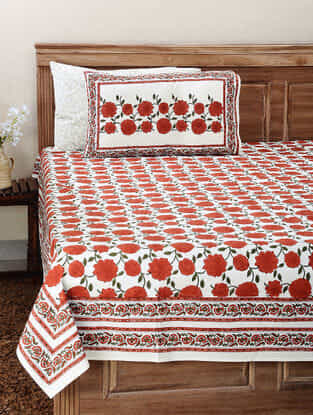Red-Green Block-printed Cotton Double Bedsheet with Pillow Cover (Set of 3)