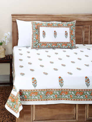 Orange-Green Block-printed Cotton Double Bedsheet with Pillow Cover (Set of 3)