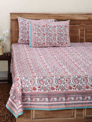 Blue-Red Block-printed Cotton Double Bedsheet with Pillow Cover (Set of 3)