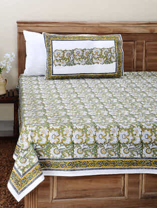 Green-Yellow Block-printed Cotton Double Bedsheet with Pillow Cover (Set of 3)