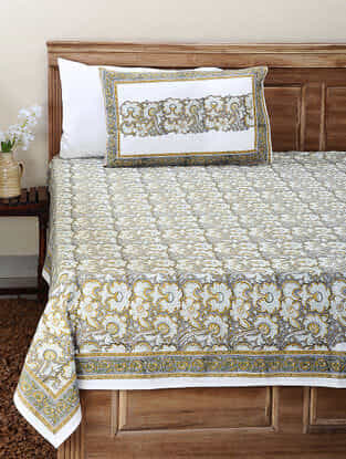 Grey-Yellow Block-printed Cotton Double Bedsheet with Pillow Cover (Set of 3)