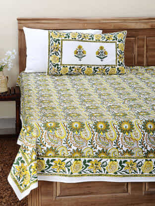Yellow-Green Block-printed Cotton Double Bedsheet with Pillow Cover (Set of 3)