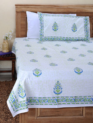 Blue-Green Block-printed Cotton Double Bed Cover with Pillow Cover (Set of 3)