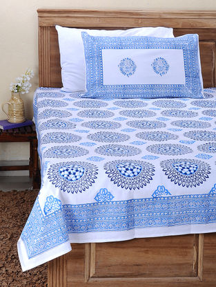 Blue-White Block-printed Cotton Double Bed Cover with Pillow Cover (Set of 3)