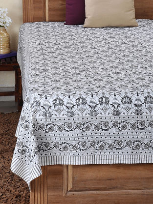 Grey-Black Block-printed Cotton Double Bed Cover (109in x 86in)