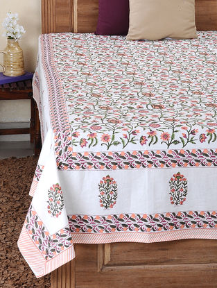 Pink-Green Block-printed Cotton Double Bed Cover (108in x 83in)