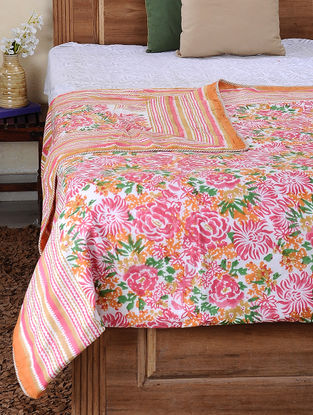 Pink-Green Block-printed Cotton Reversible Double Dohar (105in x 86in)