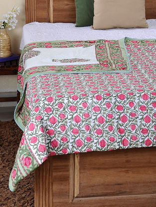 Green-Pink Block-printed Cotton Reversible Double Dohar (105in x 86in)