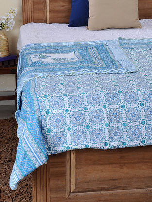 Blue-White Block-printed Cotton Reversible Double Dohar (108in x 86in)