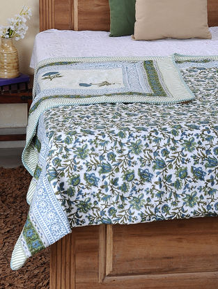 Green-Blue Block-printed Cotton Reversible Double Dohar (110in x 86in)