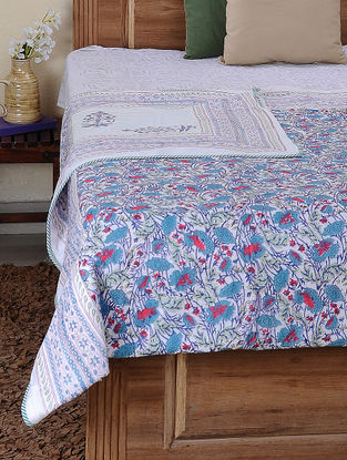 Blue-Red Block-printed Cotton Reversible Double Dohar (109in x 85in)