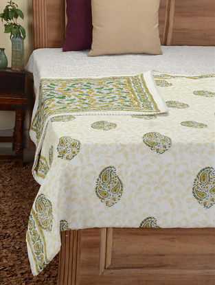 Green-Yellow Hand Block-printed Cotton Double Dohar (110in x 84in)