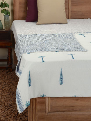 Blue-White Hand Block-printed Cotton Double Dohar (108in x 92in)