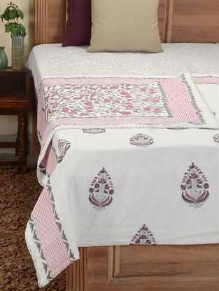 Pink-Green Hand Block-printed Cotton Double Dohar (108in x 85in)