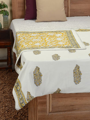 Grey-Yellow Hand Block-printed Cotton Double Dohar (108in x 83in)