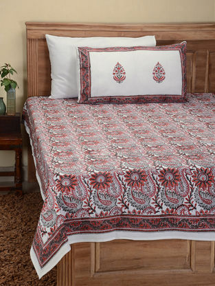 Red-Black Hand Block-printed Cotton Double Bed Cover with Pillow Covers (Set of 3)